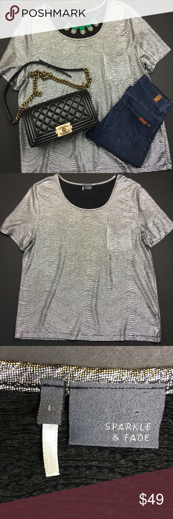 Sparkle & Fade Silver Metallic Tee Used in Excellent Condition/ No Trades/ No PayPal/ Smoke & Pet Free Home/ Please Ask Questions!/ Like what you see but the price too high? Make an offer! Sparkle & Fade Tops Tees - Short Sleeve