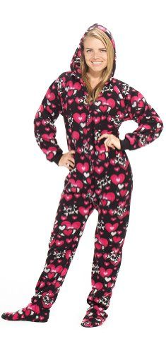 Footed Pajamas offer the best Footed Pajamas Hearts n Skulls Adult Hoodie Drop Seat - Small 2X/Dbl Wide. #pajamas #footed