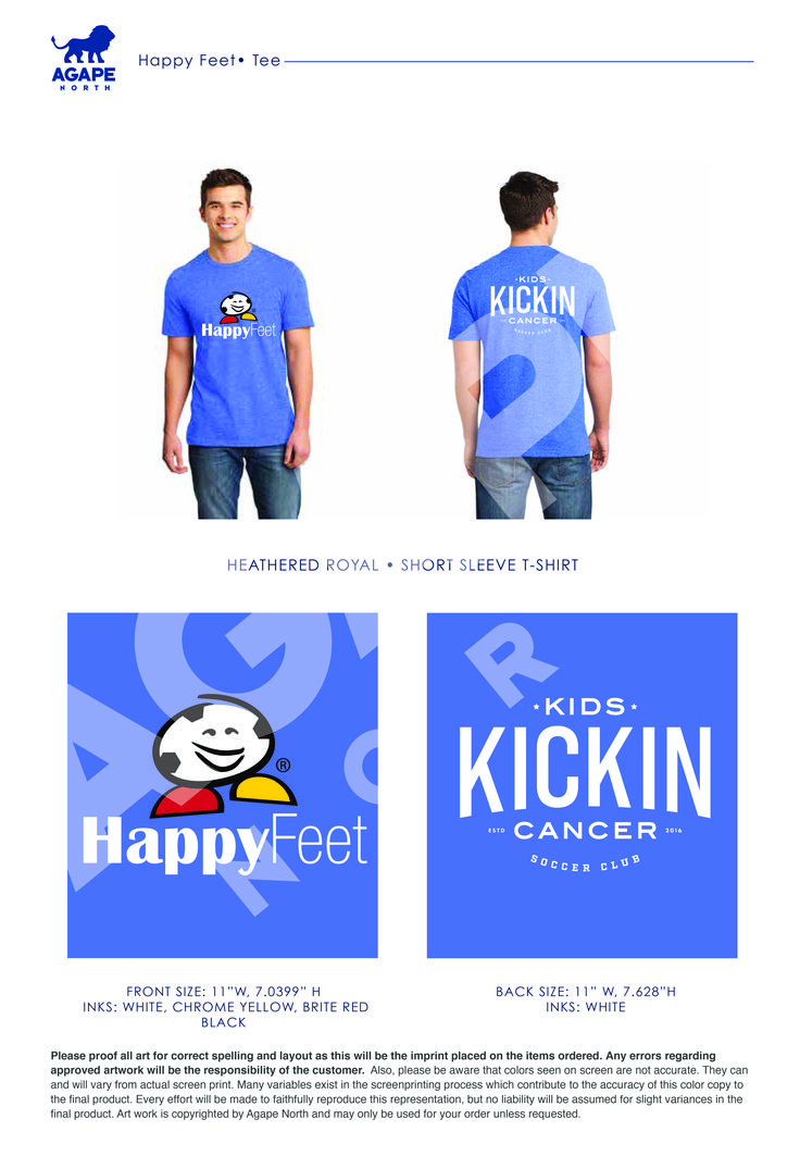Custom Apparel that Gives Back. #KidsKickinCancer #soccer #HappyFeet