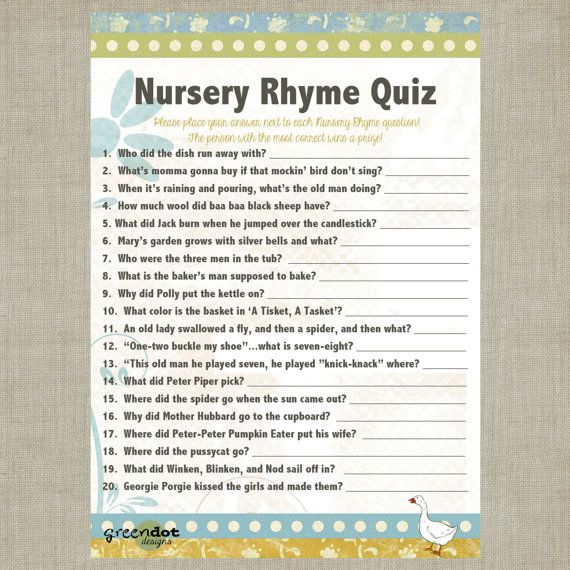 Instant Download Nursery Rhyme Baby Shower Quiz By Greendotdesigns