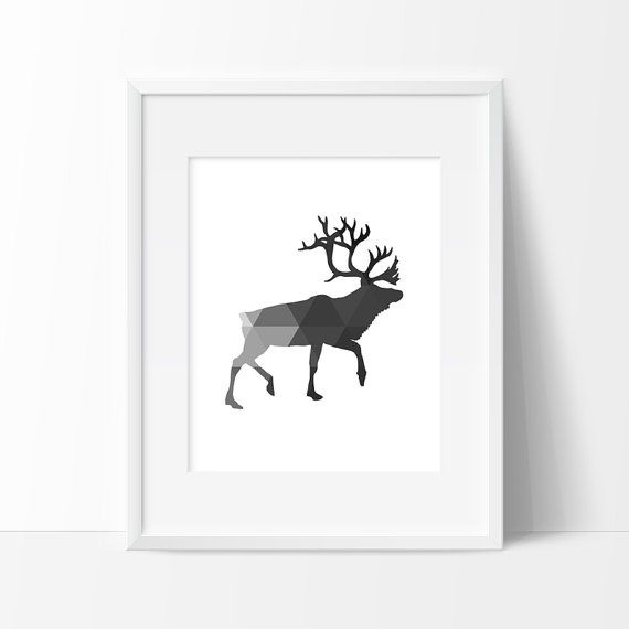 Reindeer print black and grey geometric print print graphic art graphic print