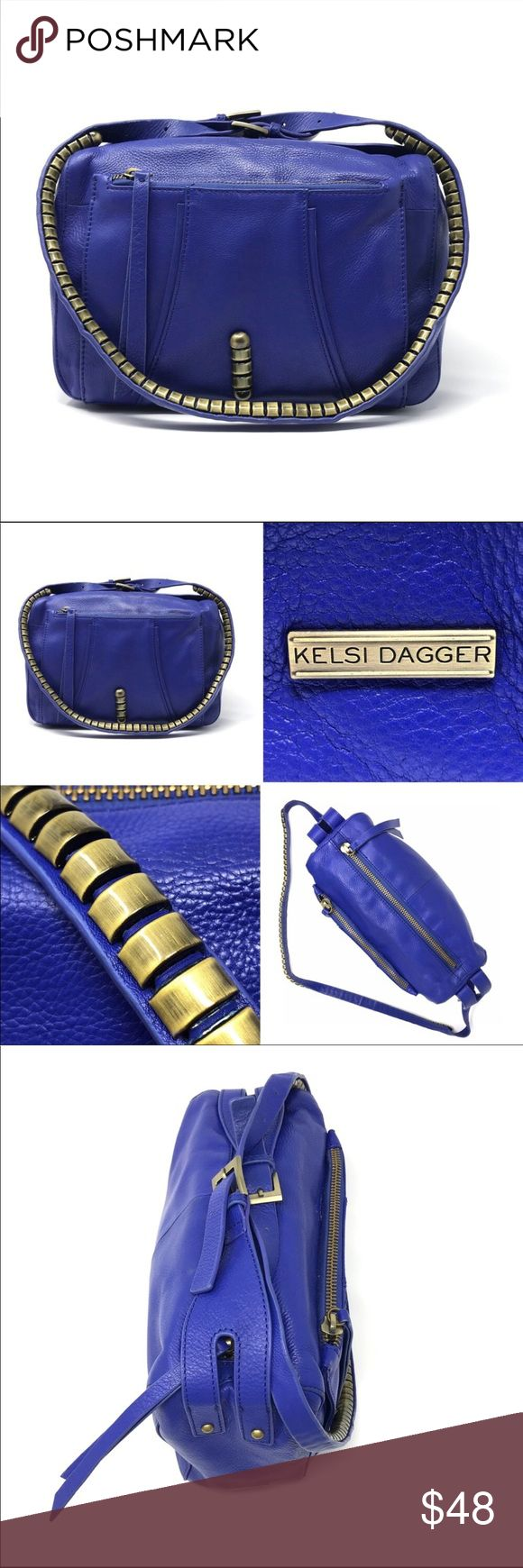 """Kelsi Dagger crossbody Purchased from a fellow seller on Poshmark.  I love the vibrant color and beautiful studded details on this bag. Unfortunately, I didn't pay attention to the size and it's a wittle big for my liking. Willing to accept any reasonable offer. Thanks 💙  SIZE : 11""""W by 9.5"""" H by 4 D Kelsi Dagger Bags Crossbody Bags"""