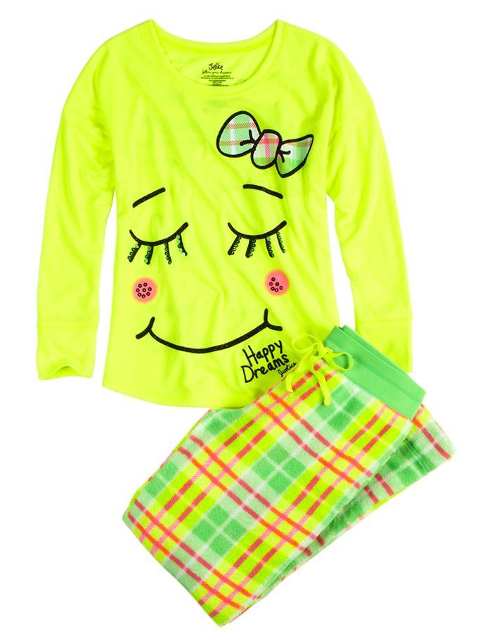 Super Soft Fleece Smile Pajama Set | Pant Sets | Pajamas | Shop Justice shopjustice.com