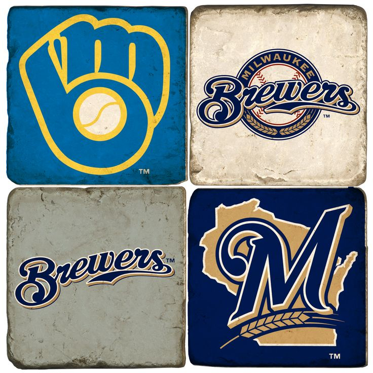 Milwaukee Brewers-Hand made Marble coasters. Would love these as 12 X 12 canvases to hang on the wall.