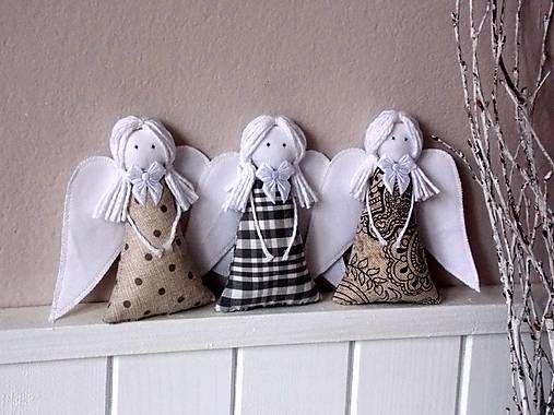 Anjeliky v šedo-béžovej / jominida - SAShE.sk - Handmade Dekorácie