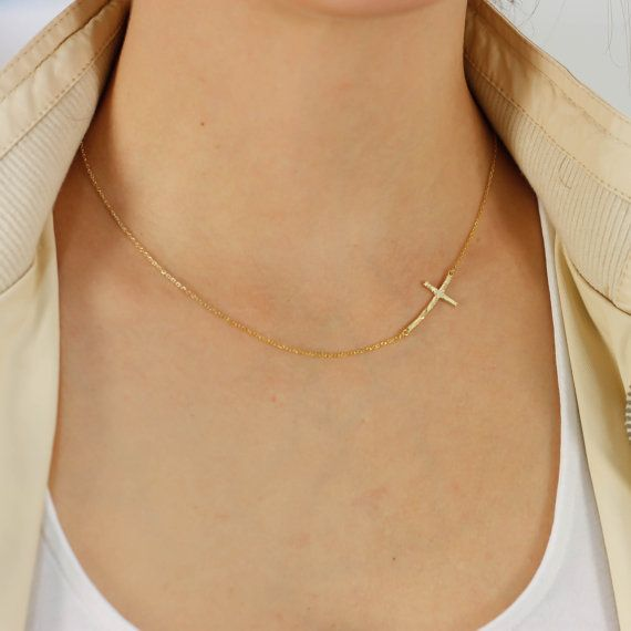 Side cross necklace hammered pendant gold by ulalajewels on Etsy