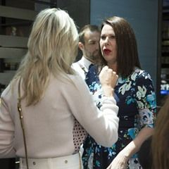Roxy Jacenko and Julia Morris hold tense talks at the Women in Media Lunch