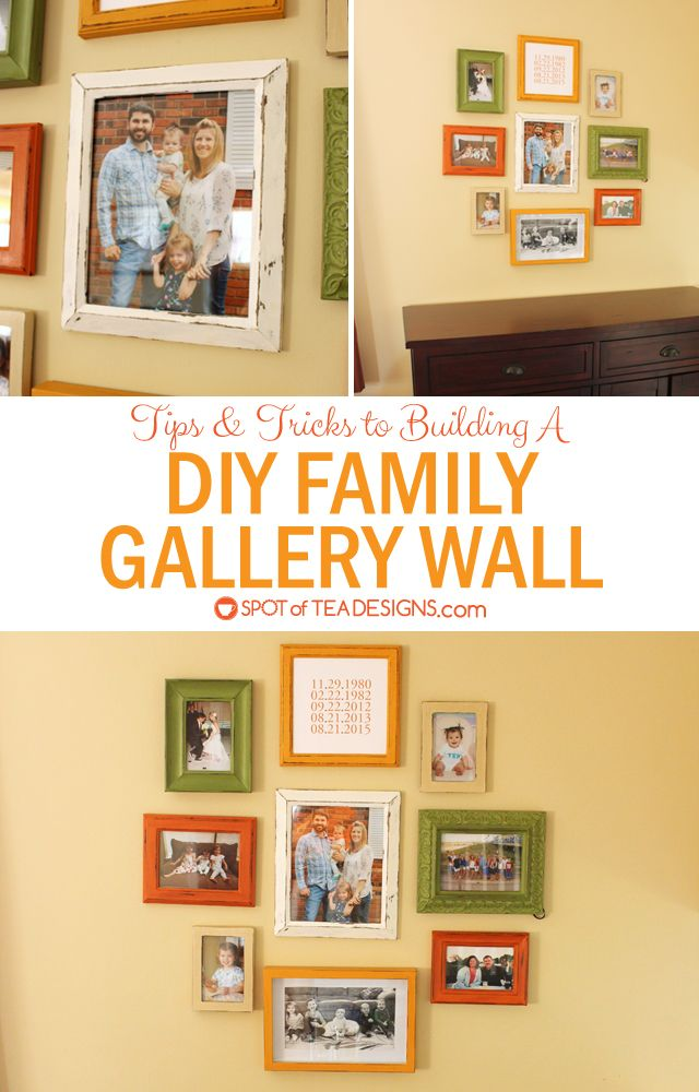 DIY Family Gallery Wall - frames made to match using Americana Decor Chalky Finish Paint | Spotofteadesigns.com #decoartprojects