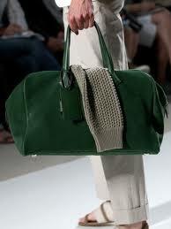 Hermes Green Suede Duffle Fall 2012