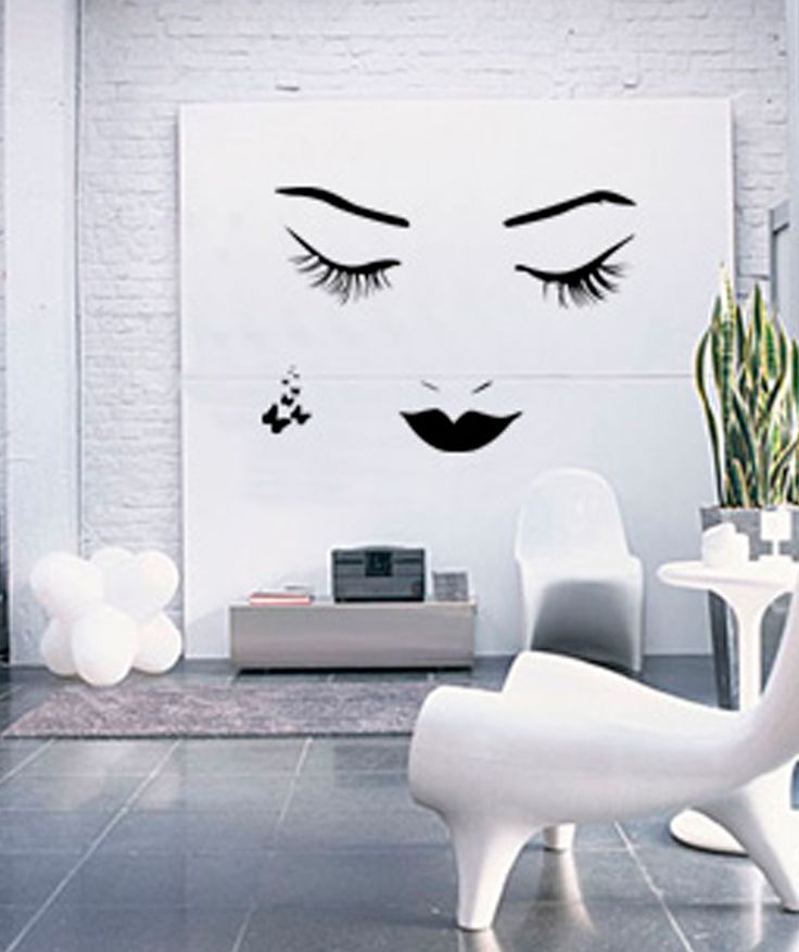 Rostro y mariposas vinilo adhesivo decoraci n de for Adhesivos decorativos pared