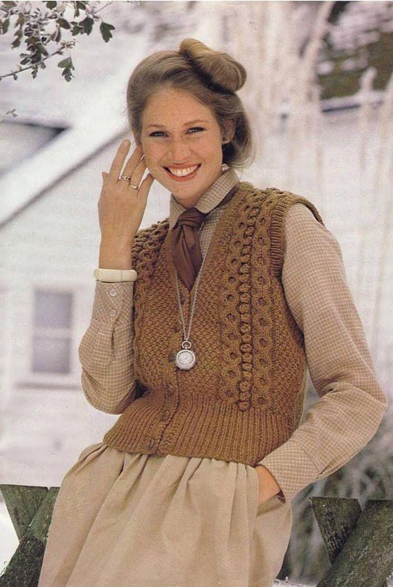 PDF Vintage 1970s Womens Ladies Waistcoat Knitting Pattern