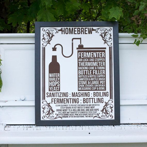 Home Brew BEER Poster - men's gift, man cave - hand-pulled screen print on 22x28 watercolor paper on Etsy, $44.00