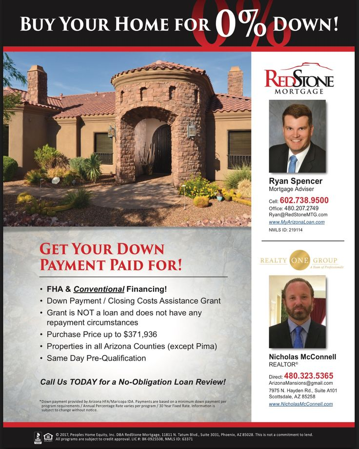 ARIZONA!  BUY A HOME WITH ZERO DOWN!!!!You can now purchase a home in Arizona with zero down!!! Call or text Nicholas McConnell with Realty One Group to get started! Your Arizona Luxury Real Estate Specialist.  www.nicholasmcconnell.com  480-323-5365. With over 20 years of experience!