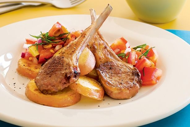Thes lamb cutlets are dressed to impress with tangy tomato salsa. #recipe #lamb #comfortfood