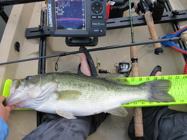 Largemouth bass caught from a nucanoe frontier in for Fishing in louisville ky