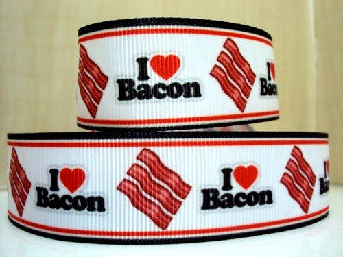 1 I Love Bacon Ribbon 5 Yards by ShopBowsByMelissa on Etsy