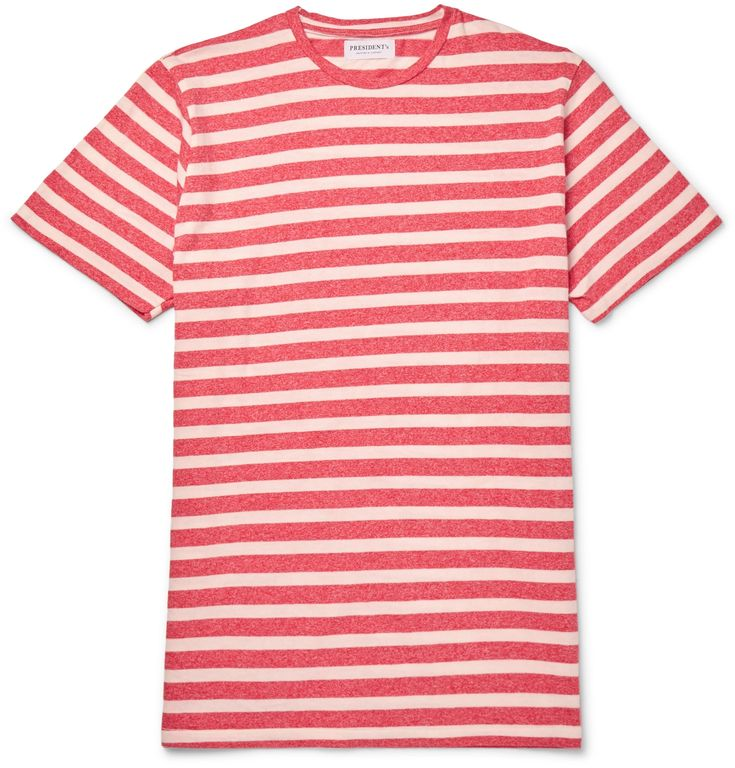 An excellent addition to your summer wardrobe, <a href='http://www.mrporter.com/mens/Designers/Presidents'>President's</a> Italian-made tee is cut from breezy cotton-jersey. The crimson and white mélange stripes will nicely contrast navy chinos.