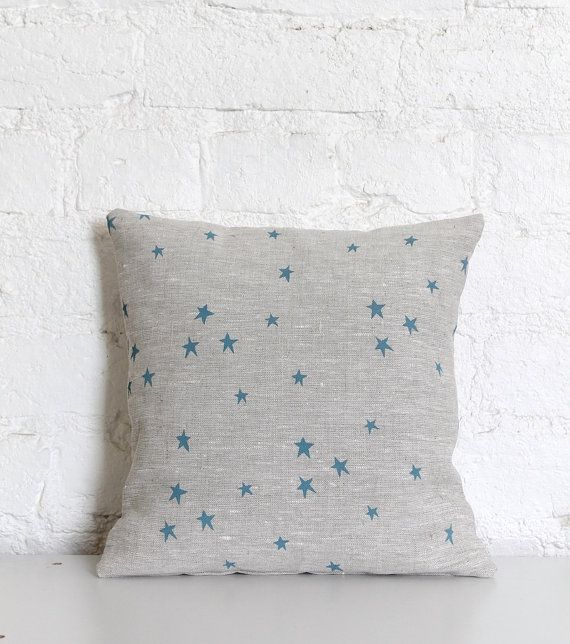 Hand Printed Linen Cushion Cover  Blue Twinkle Star by hellomilky