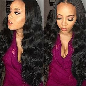 Human Hair Wigs for Black Women Elastic Cap Lace Front Human Hair Wigs Body Wave Pre-Plucked Natural Hair Line LMWG0030