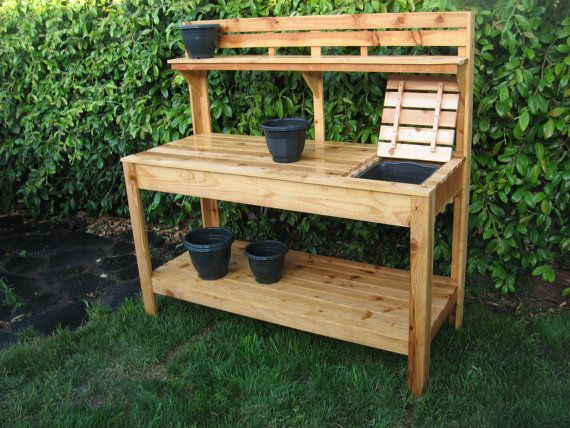 Cedar Potting Bench With Soil Tray Garden Works Gardens And Potting Tables