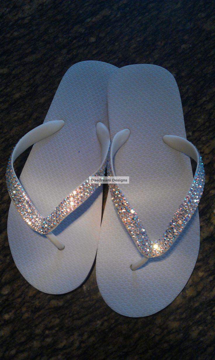 Cariris Brazilian Rubber Swarovski Bling Bridal Flip Flops. $50.00, via Etsy.