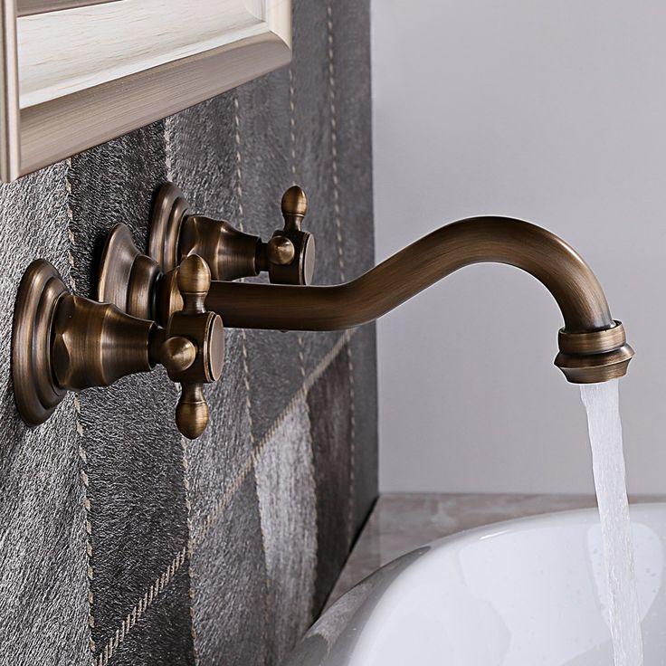 Chester Wall Mounted Antique Brass Basin Mixer Tap - Basin Taps - Taps