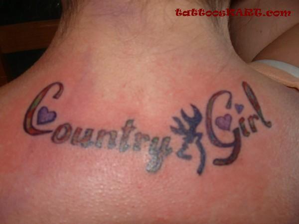 Country Girl Tattoo On Girl Upper Back