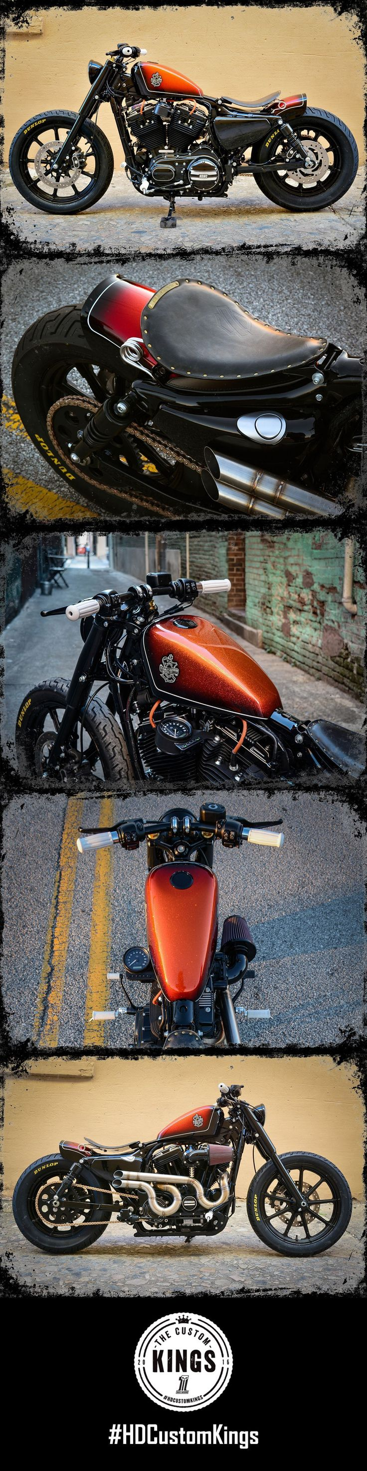 Macon H-D amplified the aggressive lines of the 2016 Iron 883 by chopping the frame, adding a custom rear fender, lowering the bike, and blacking it out with H-D parts & accessories. Vintage white controls and drag bars add a touch of nostalgia.   Harley-Davidson #HDCustomKings #harleydavidsoncustommotorcyclesiron883