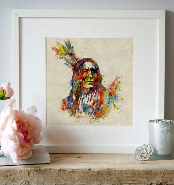 Indian chief Watercolor painting Wall art Aquarelle by Artsyndrome