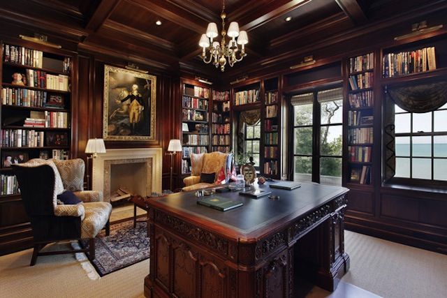Stately victorian library/office.Old World, Gothic, and Victorian Interior Design: Victorian
