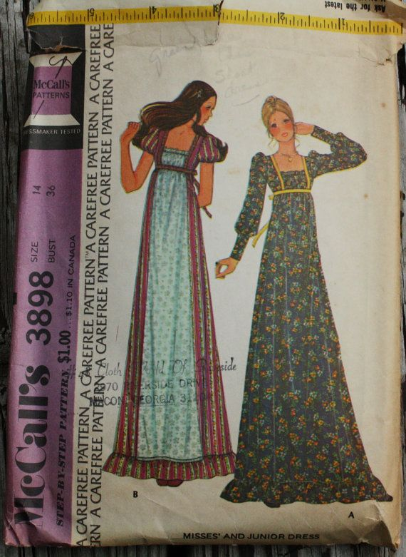 McCall 3895 1970s 70s Prairie Girl Maxi Dress by EleanorMeriwether