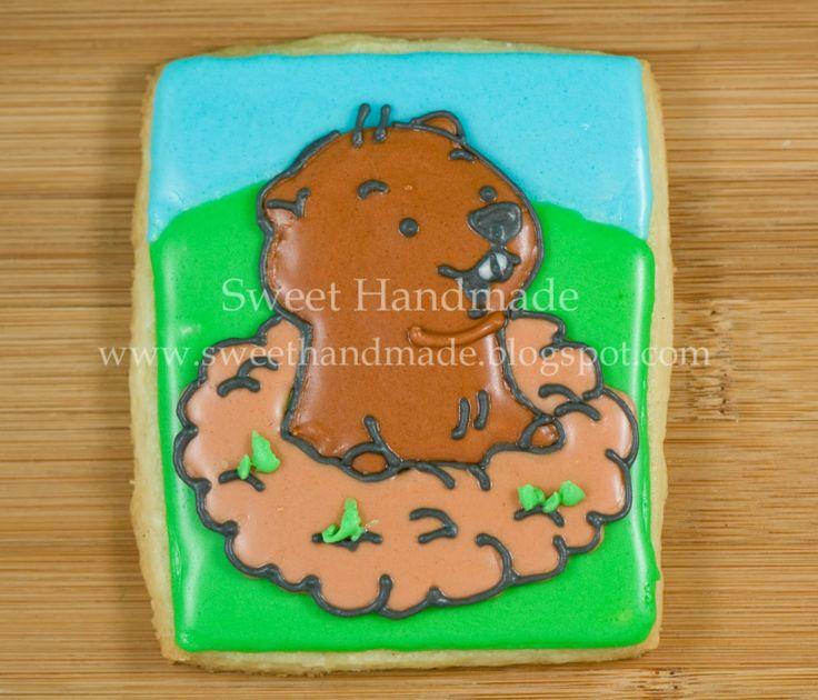 Sweet Handmade Cookies - groundhog day cookies, groundhog cookies