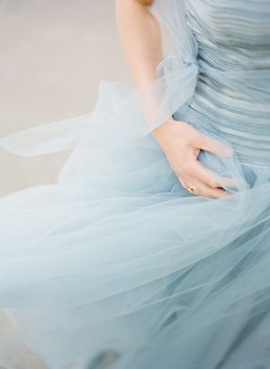 Pretty Vintage-Inspired Dusky Blue Tulle Dress
