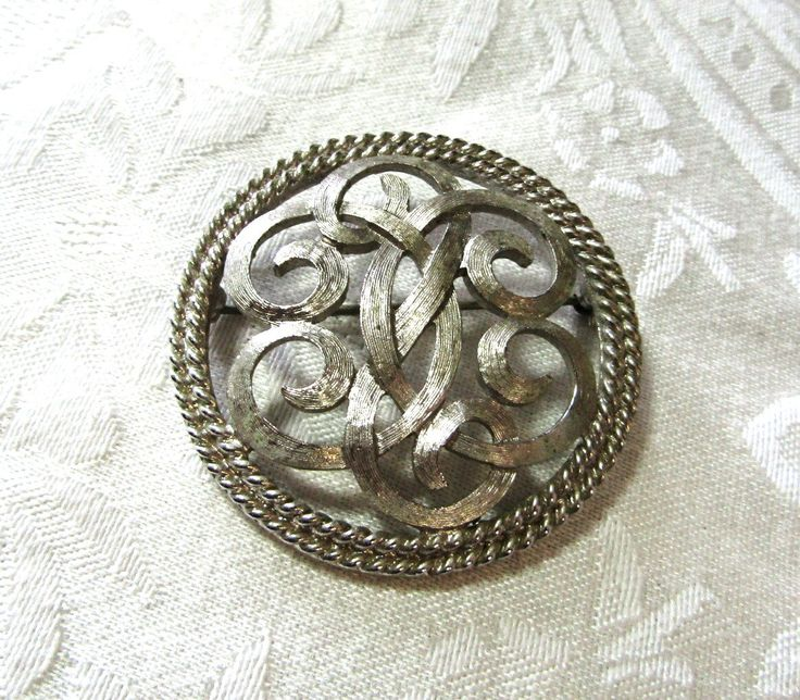 Monet Round Knot Brooch, Signed, Silver Tone, Vintage Item, Bridal Bouquet Accent, Sweater, Lapel, scarf