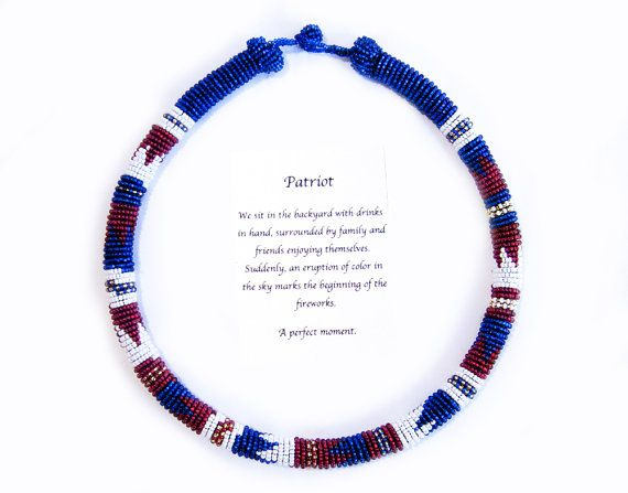 Red, White, Blue, and Gold Beaded Necklace, Bead Wrapped Necklace, African Inspired Jewelry, Zulu Inspired Necklace