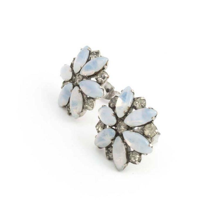 De Luxe Blauwe oorbellen met bloemen en kristal