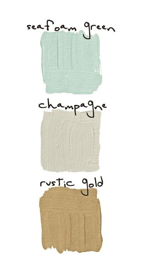 bathroom color palette / seafoam, champagne, rustic