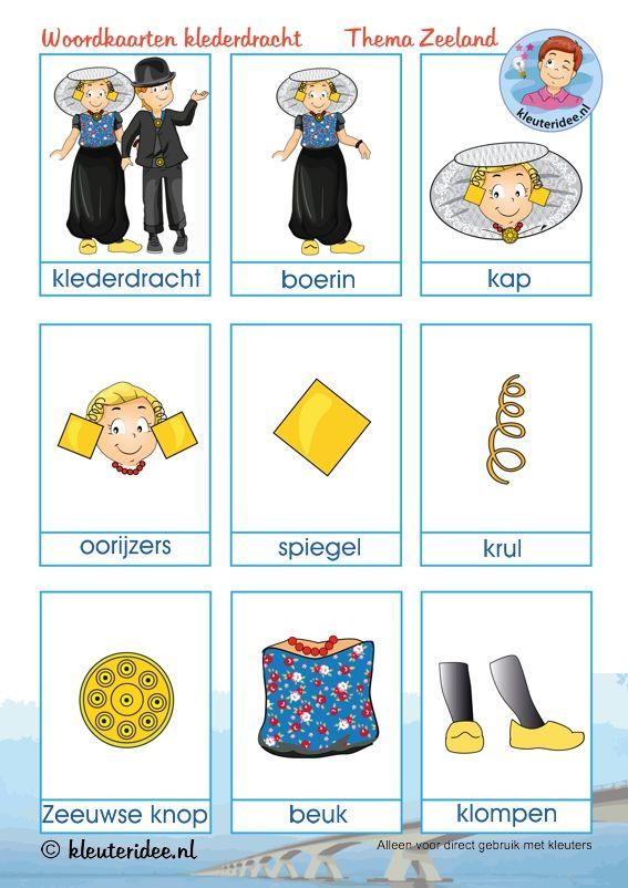 Woordkaarten klederdracht Zeeland voor kleuters, kleuteridee, thema Zeeland, free printable.