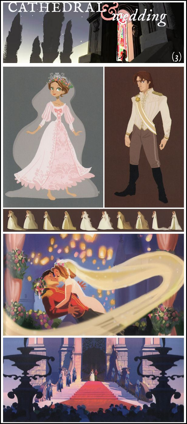 """This Corona map and corresponding concept art show three things that were in a previous draft of """"Tangled"""" but never made it into the original film:   (3) A wedding at the castle cathedral  (from http://findingcorona.tumblr.com/post/18037658390/this-corona-map-and-corresponding-concept-art-show)"""