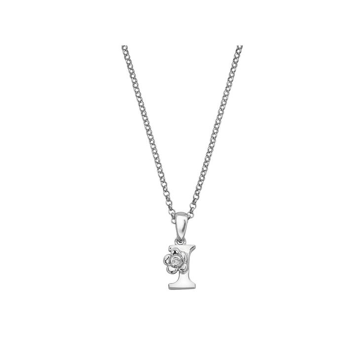 Little Diva Diamonds Sterling Silver Diamond Accent Initial Pendant - Kids, Girl's, Size: 14, White