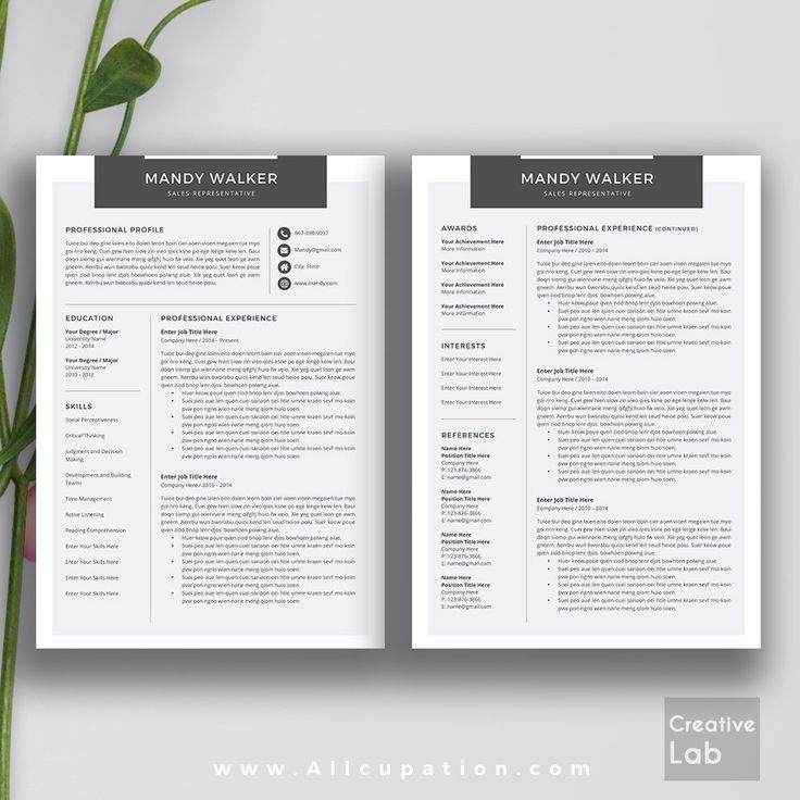 Creative Resume Template Cover Letter Word Modern