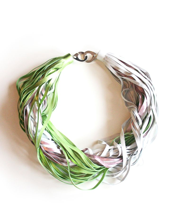 Twested Necklace_Metallic Pink, Green, White Collection 2016 Leather jewellery by My Golden Cage
