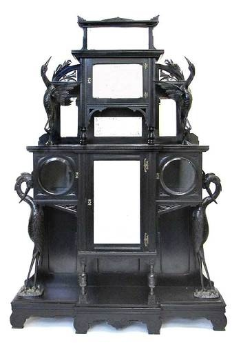 Aesthetic Movement Carved And Ebonized Mirrored Etagere Kimbel U0026 Cabus  C.1870