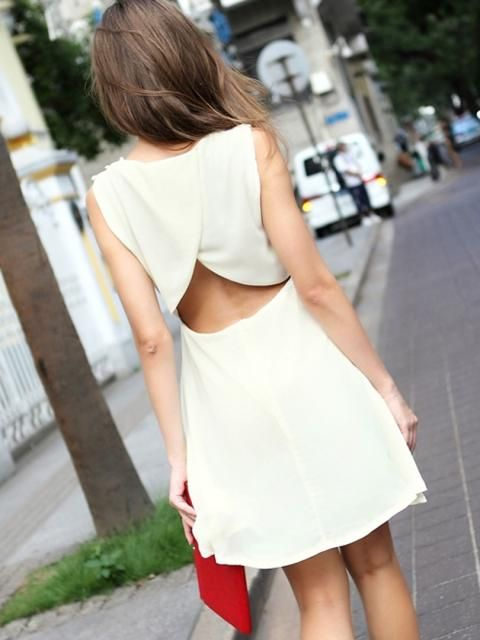 Beige Cut Out Dress