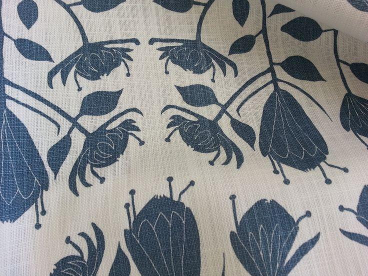 Maradadhi Textiles Protea.  Dusty Blue onto white cotton.