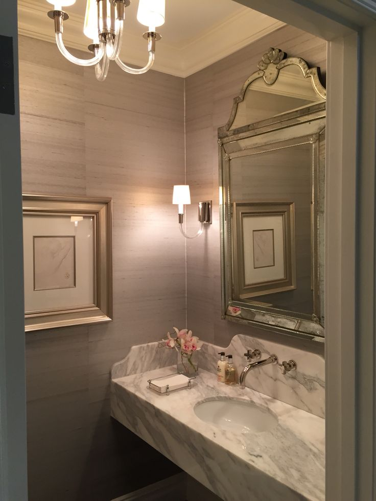 NYC Powder Room Designed By Bryan Eure Pewter Limestone Floor From Ann Saks Venetian Mirror A