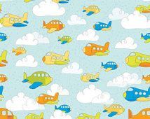 """Airplanes Fabric by the Yard or Half Yard Fabric, Riley Blake """"On the Go"""" Fabric, cotton fabric, quilt fabric, cloud fabric, kids fabric"""