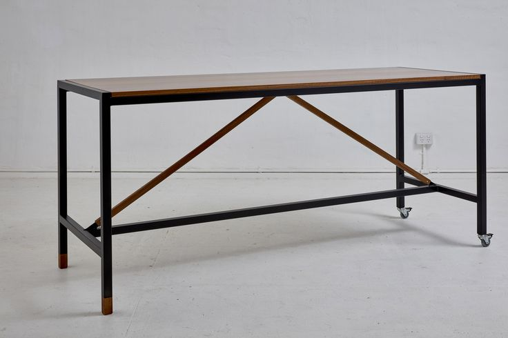 Loughlin Furniture Waterloo Industrial Table Spotted Gum Timber Metal Frame