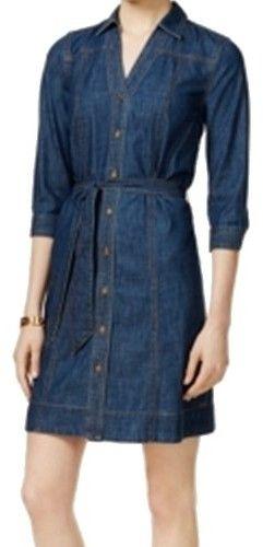 Tommy Hilfiger Womens Denim 3/4 Sleeves Shirtdress