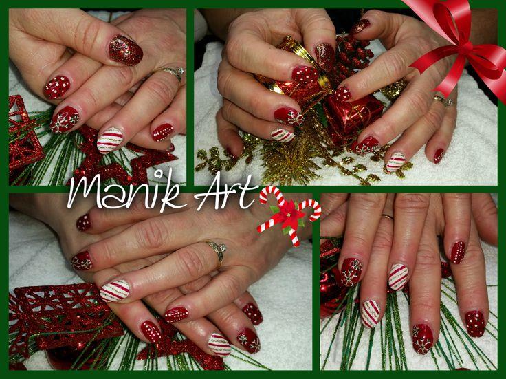 #ongle #nails #christmas #noel #red #white #candycane #rouge #blanc #design